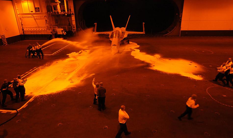 Military Photos Aircraft Carrier Hanger Fire Drill