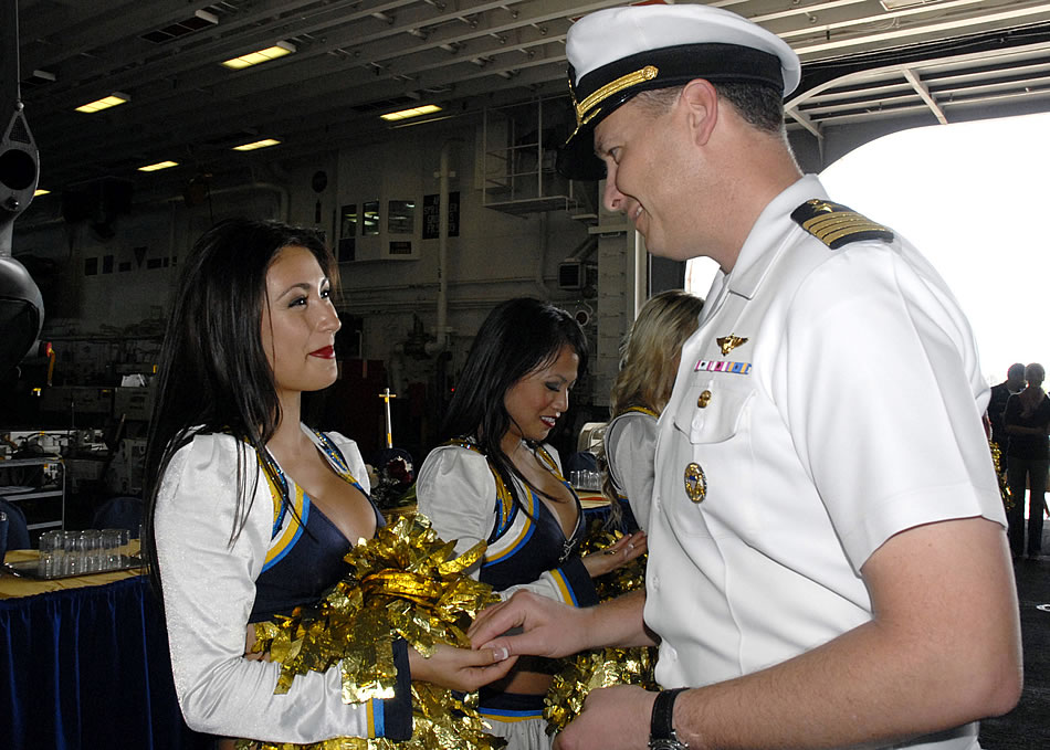 military photos san diego charger cheerleaders on board