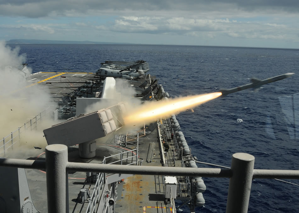 USS Bonhomme Richard firing Sea Sparrow missile